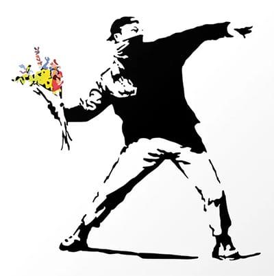 Arte de Banksy: Mascarado jogando um ramalhete de flores
