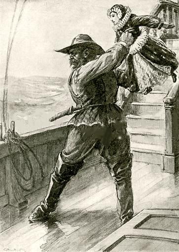 Francine, a boneca de Descartes, sendo jogada no mar