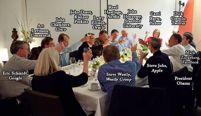 Jantar de líderes do mundo tecnológico com Obama.