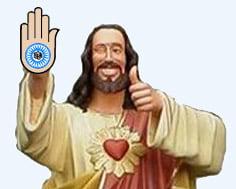 Jesus em desenho com símbolo Jainista na palma da mão