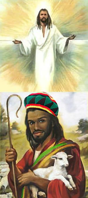 Jesus negro em desenho estilo Rastafari