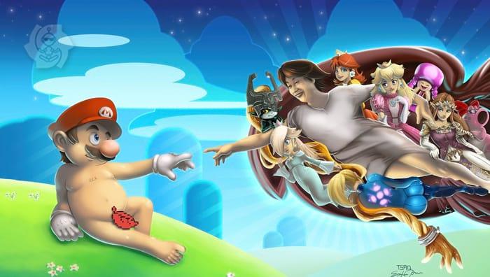 Mario como Adão e Miyamoto como Deus. Arte de @tsaoshin.