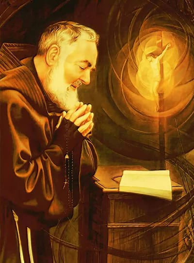 Desenho de Padre Pio rezando