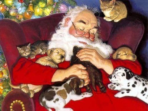 Papai Noel abraçado com cachorrinhos